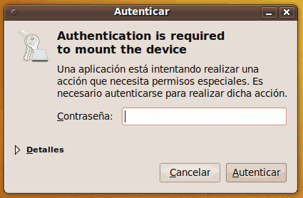 'Authentication is required to mount the device' en Ubuntu