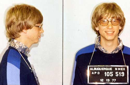 Ficha policial de un jovencísimo Bill Gates
