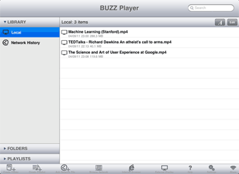 Buzz Player, reproductor de vídeo para iPad