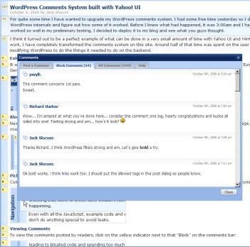 Sistema de comentarios de WordPress con Yahoo! UI
