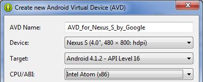 Seleccionando Intel x86 como CPU/ABI