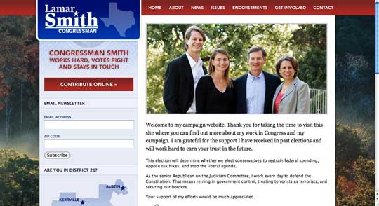 Captura de pantalla de la web de Lamar Smith a 24 de Julio de 2011