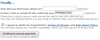 Código de promoción en Dreamhost