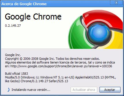 Actualización para Google Chrome