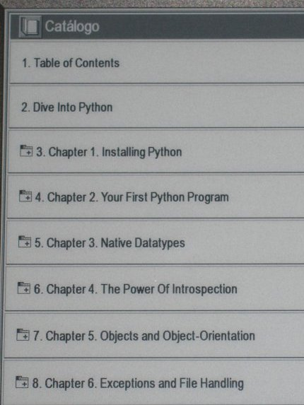 Índice libro electrónico Hanlin v3
