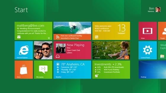 Pantalla de inicio de Windows 8