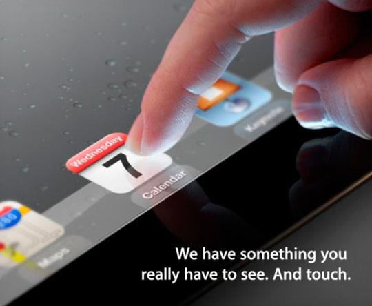 Invitación al evento de presentación del iPad 3