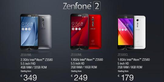 Modelos de ZenFone 2 disponibles