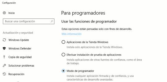 Activar el Modo de programador de Windows 10