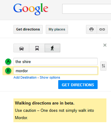 De La Comarca a Mordor, según Google Maps