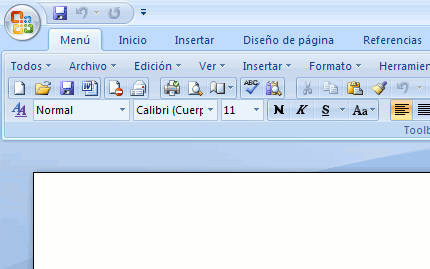 Sustituir el menú de Office 2007 (Ribbon)
