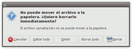 No puede mover el archivo a la papelera. ¿Quiere borrarlo inmediatamente?