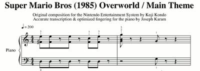 Partitura del tema principal de Super Mario Bros