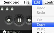 Songbird. El menú Editar funciona