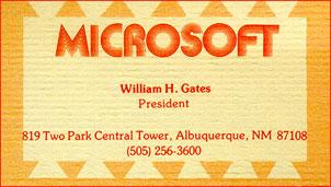 Tarjeta de visita de Bill Gates (Microsoft)