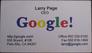 Tarjeta de visita de Larry Page (Google)