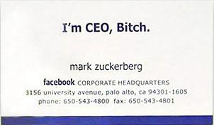 Tarjeta de visita de Mark Zuckerberg (Facebook)