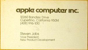 Tarjeta de visita de Steve Jobs (Apple)