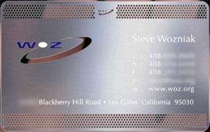 Tarjeta de visita de Steve Wozniak (Apple)