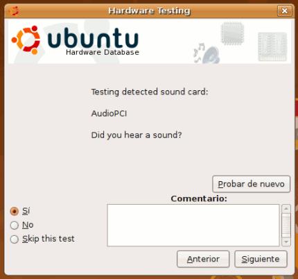 Ubuntu: Pruebas del hardware