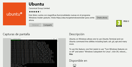 Ubuntu en la tienda de Windows
